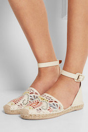 Embroidered leather espadrilles