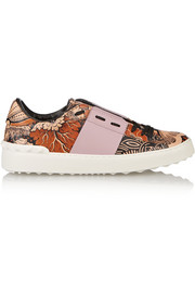 Covered printed leather sneakers
