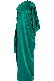 One-shoulder silk-satin gown