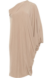 One-shoulder washed-satin dress