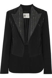 Lanvin Metallic-trimmed stretch-gabardine blazer