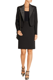 Metallic-trimmed stretch-gabardine blazer