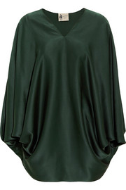 Oversized silk-satin top