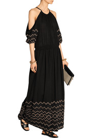 Leela embroidered cotton-voile maxi dress