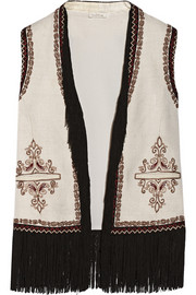 Fringed embroidered woven silk vest