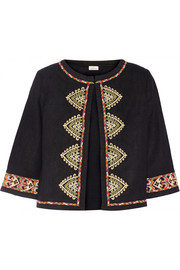 Embroidered woven silk jacket