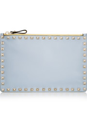 The Rockstud color-block leather pouch