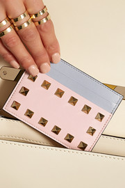 Rockstud color-block leather cardholder