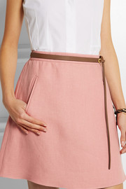 Valentino Textured-leather skinny belt