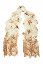 Lace-trimmed printed cashmere and silk-blend scarf