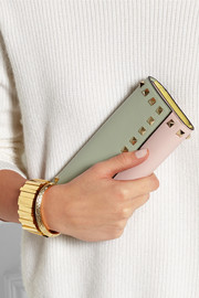 Rockstud color-block leather continental wallet