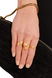 Set of five gold-tone rings