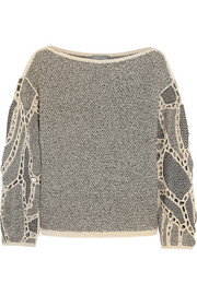 Crocheted open-knit sweater