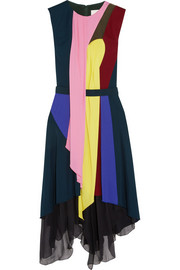 Haze draped jersey and silk-chiffon dress