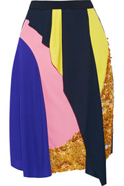 Mirage sequined draped crepe skirt