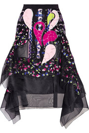 Peter Pilotto Embellished embroidered silk-organza skirt