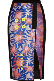 Bernicia embellished jacquard and crepe skirt