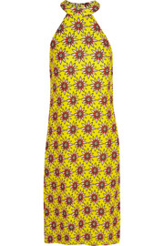 House of Holland Flower Power printed satin-twill midi dress