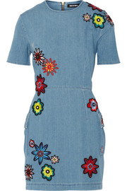 Nancy appliquéd distressed chambray mini dress
