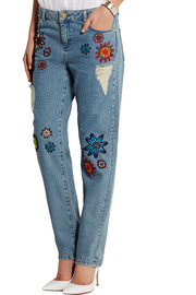 House of Holland Nancy appliquéd high-rise boyfriend jeans