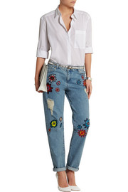Nancy appliquéd high-rise boyfriend jeans