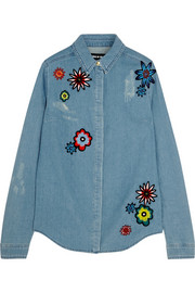 House of Holland Nancy appliquéd denim shirt