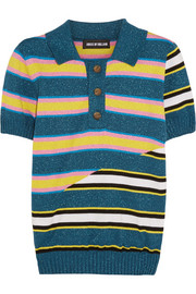 Stripped knitted cotton-blend polo shirt