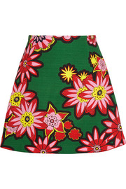 Dolly floral-print woven cotton mini skirt