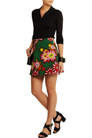 House of Holland Dolly floral-print woven cotton mini skirt