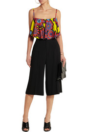 House of Holland Cropped floral-print crepe top