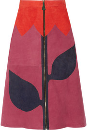 House of Holland Paneled suede skirt