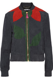 Paneled suede bomber jacket
