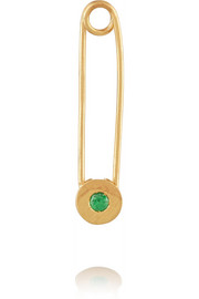 Safety Pin 10-karat gold tsavorite earring