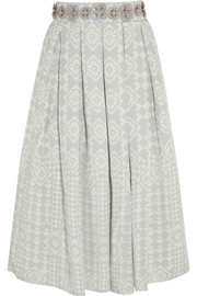 Embellished silk-crepe skirt