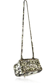 Small Pandora Box bag in printed black leather