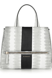 Medium Pandora Pure bag in black, white and gray watersnake
