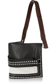 Show studded shoulder bag in textured-leather and canvas