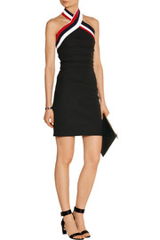 Iman ruched cady halterneck dress