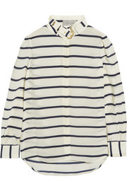 Breton striped silk crepe de chine shirt