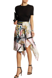 Sachin printed devoré silk-satin skirt