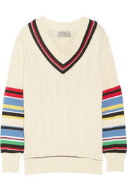 Blythe striped cable-knit cotton sweater