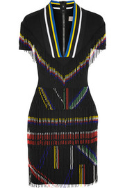 Saada bead-embellished stretch-cady mini dress