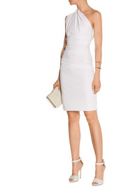Tamara one-shoulder ruched stretch-cady dress