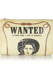 Wanted printed leather clutch
