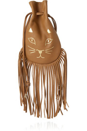 Kitty fringed leather pouch