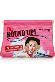 Round Up Maggie embroidered crepe de chine clutch