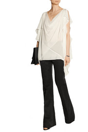 High-rise cotton-blend faille flared pants
