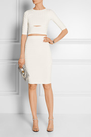 Ribbed stretch-knit pencil skirt