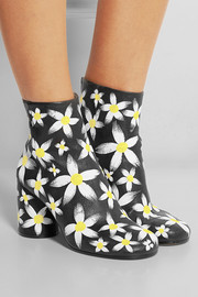 Painted daisy-print textured-leather ankle boots