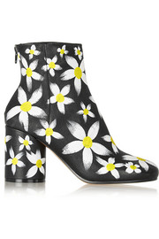 Maison Margiela Painted daisy-print textured-leather ankle boots